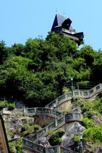Лестница к замку Шлоссберг. Грац